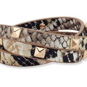 Gold Tone Snakeskin Wrap Bracelet NWT